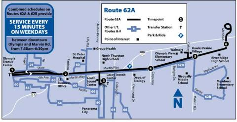 Map of Route 62A