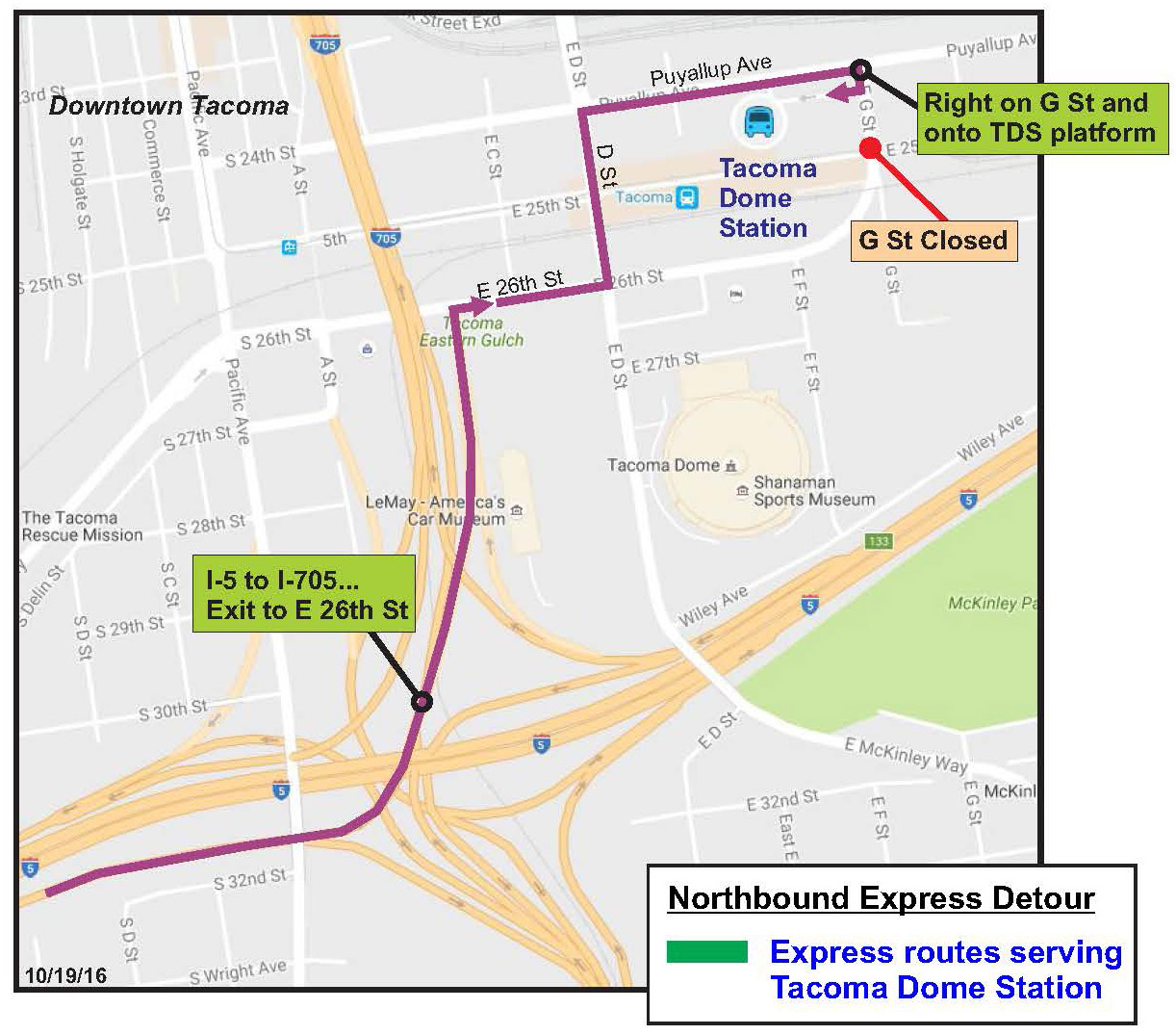 Routes 603 605 612 Tacoma Dome Detour Extended into 2017