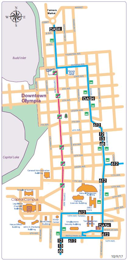 Olympia Capitol Campus Map.Downtown Olympia Detour For Indigenous People S Day Intercity