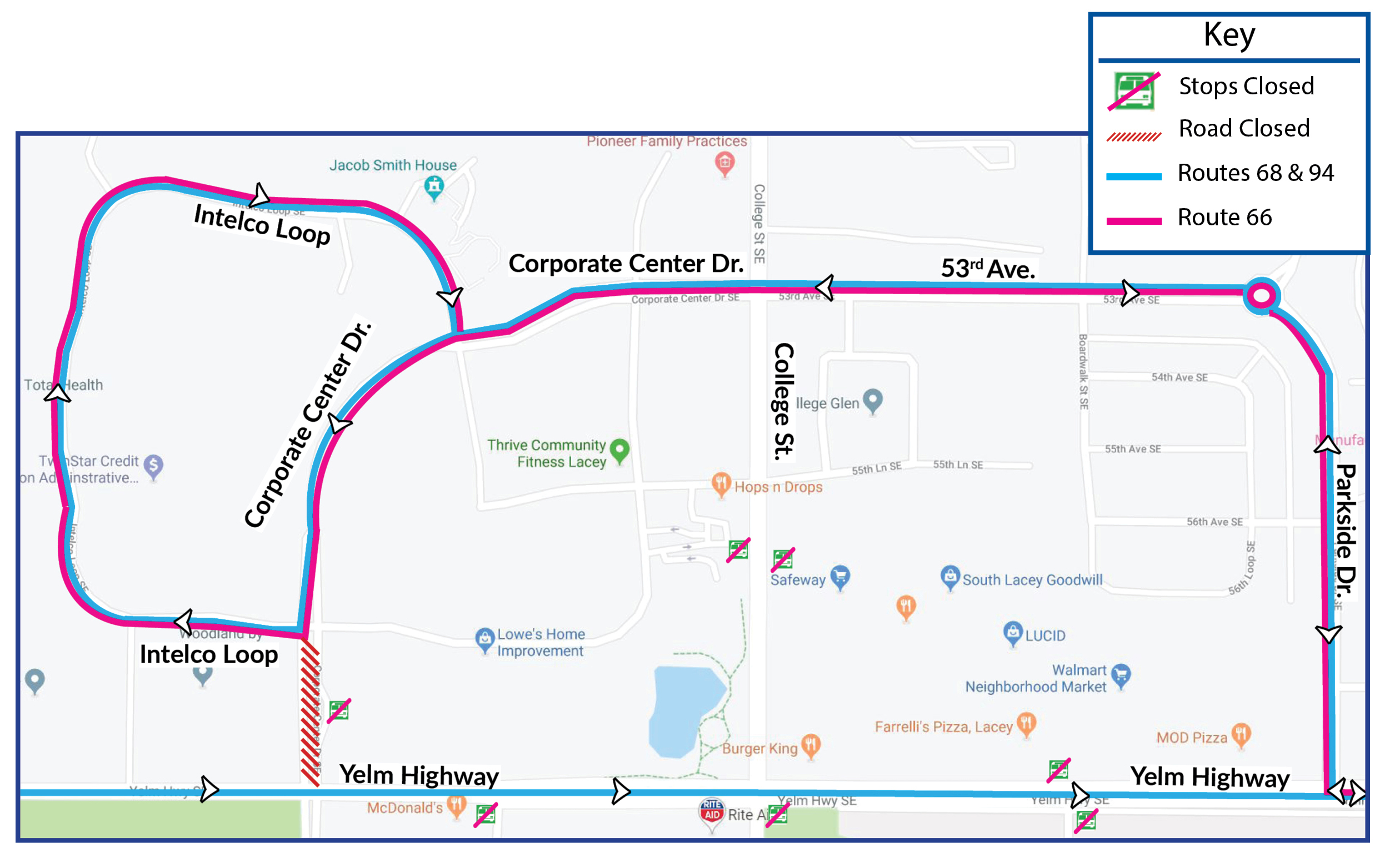 Routes 66, 68 and 94 on detour Sept  9 due to paving on Yelm