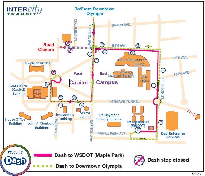 Olympia Capitol Campus Map.Dash Detour West Capitol Campus Intercity Transit