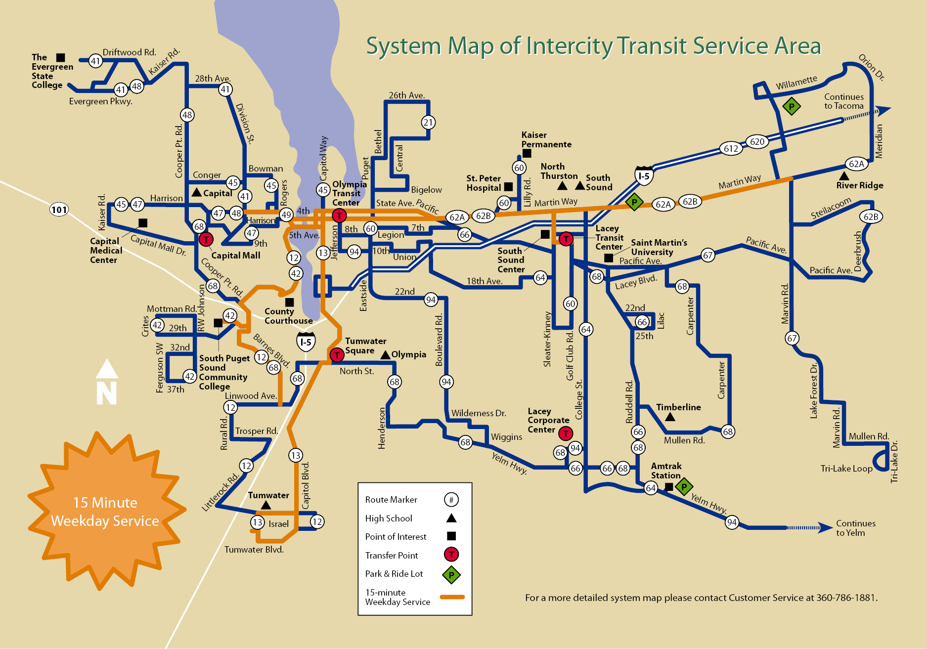 System Map of Intercity Transit Service Area