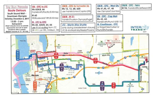 Details and map of routes on detour due to Toy Run