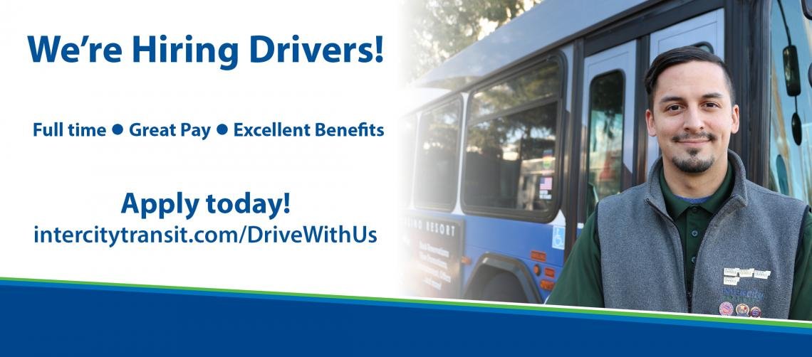 We're Hiring Drivers! Full time, Great Pay, Excellent Benefits. Apply today! intercitytransit.com/DriveWithUs
