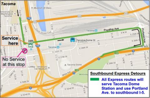Map of Detour. All express routes will serve Tacoma Dome Station and use Portland Ave. to southbound I-5