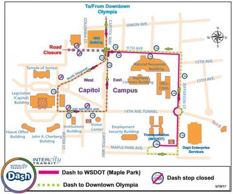 Dash - Capitol Campus Detour May 25 & 26   Intercity Transit