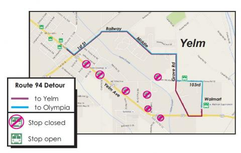 Route 94 detour in Yelm