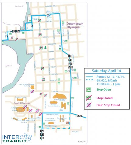 Detour in downtown Olympia due to a march on Capitol Way.