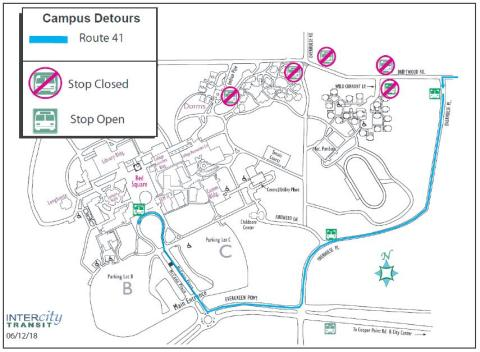 Route 41 Detour - No service to Dorm Loop