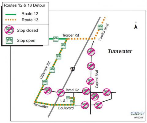 Routes 12 & 13 on detour along Capitol Boulevard due to the Tumwater Independence Day Parade.