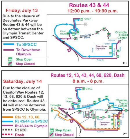 Lakefair Detour Maps for Friday, July 13 and Saturday, July 14
