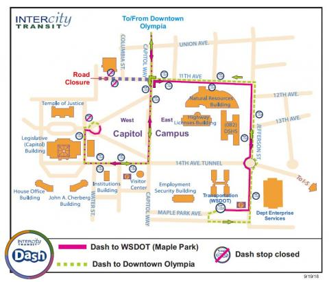 Olympia Capitol Campus Map.Dash Detour On The West Capitol Campus Sept 21 Intercity Transit