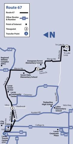 Map of Route 67