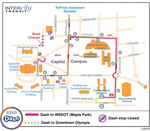 Dash west Capitol Campus detour. Road closure by the Temple of Justice Building.