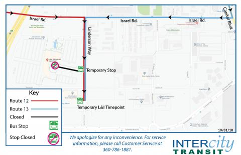 Temporary stops on Linderson Way due to construction at the Labor & Industries building.