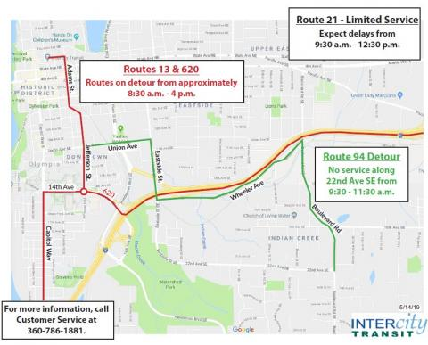 Routes 13 and 620 will be on detour from approximately 8:30 a.m. to 4 p.m. Route 21 will have limited service and should expect delays from 9:30 a.m. to 12:30 p.m. Route 94 won't have service along 22nd Ave. SE from 9:30 to 11:30 a.m.