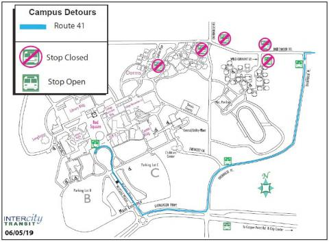 Route 41 won't be traveling the Dorm Loop due to road closure. Instead it will travel on Overhulse to Evergreen Parkway to McCann Plaza.