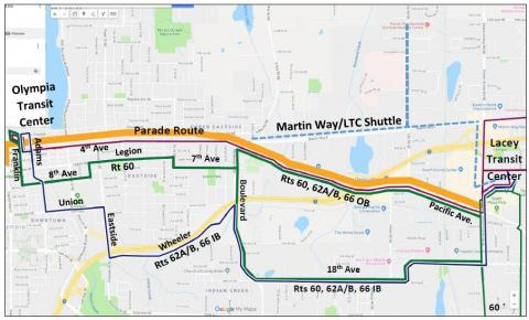 Routes 60, 62A, 62B, and 66 on detour due to the Toy Run.