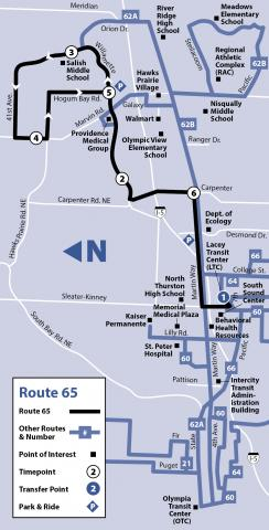 Map of Route 65