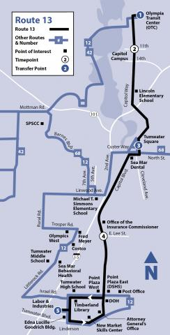 Map of Route 13