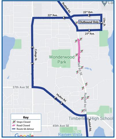 Route 66 will be on detour due to the closure of Ruddell Rd. between 27th Ave. and Brentwood Dr. for a construction project.