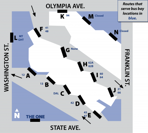 Bay map for Olympia Transit Center as of November 1, 2020