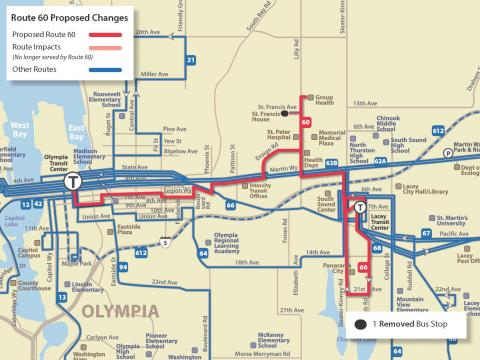 Map of proposed service changes to Route 60