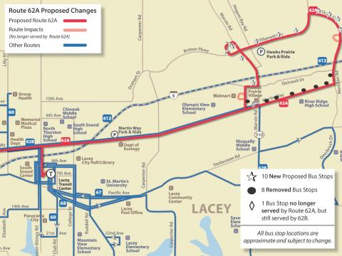 Map of proposed service changes to Route 62A