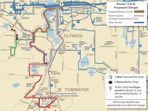 Map of proposed service changes to Route 12
