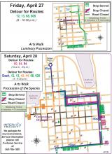 Detours in downtown Olympia due to Arts Walk events.